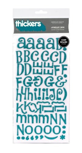 American Crafts Thickers Glitter Chipboard Letter Stickers, Jewelry Box Aqua ()