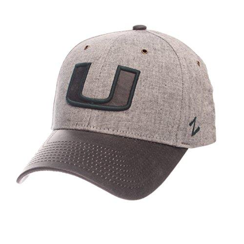 Zephyr NCAA Miami Hurricanes Adult Men The Supreme Cap, Adjustable, Gray - Miami College Leather