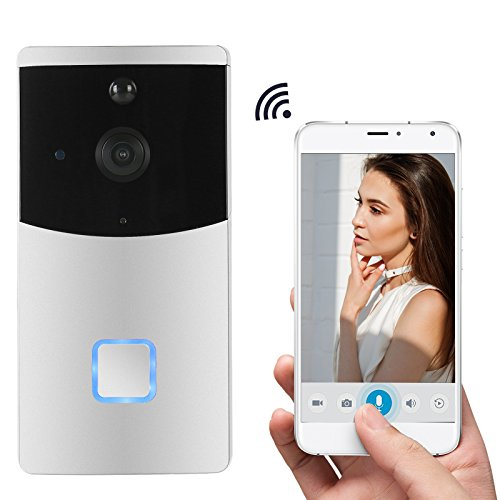 SnowLove WiFi Video Doorbell,Wireless Doorbell Smart Security Doorbell Camera,Two-way Audio Intercom,Night Vision, PIR Motion Detection (Silver) (Intercom Inside)