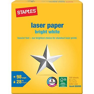 "Staples Laser Paper, 8 1/2"" x 11"", Bright White, Ream"