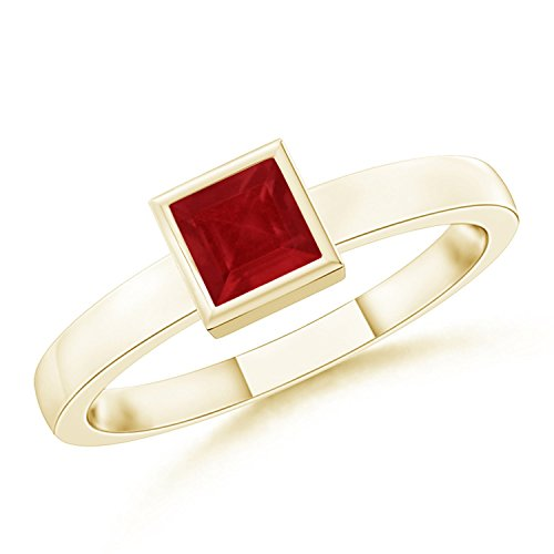 July Birthstone - Bezel-Set Solitaire Square Natural Ruby Stackable Ring for Women in 14K Yellow Gold (3mm (Gold Bezel Set Ring)