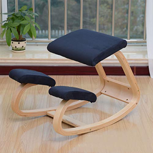 Bestting Varier Variable balans,Ergonomic Kneeling Chair Natural Lacquered Wood Home Office and Desk Chair,Blue