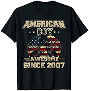 Retro Vintage American Boy Awesome Since 2007 USA Flag T-shirt | Size S - 5XL