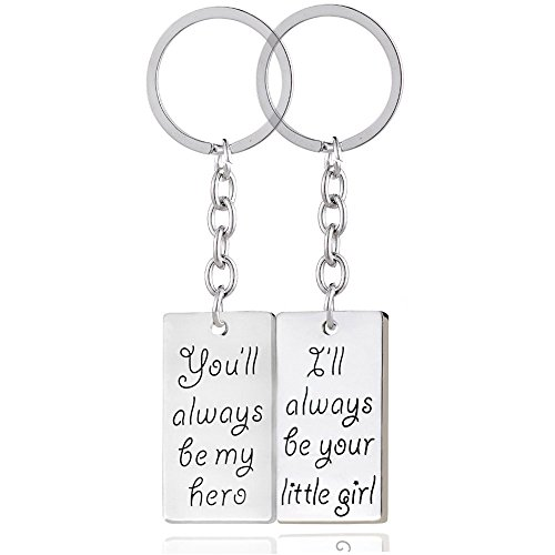 2pcs You'll always be my hero I'll always be your little girl Key Chain Ring Set Father's Day Dad Gift