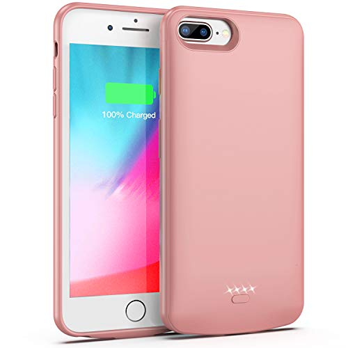 Battery Case for iPhone 7 Plus/8 Plus/6 Plus/6s Plus,5500mAh Portable Protective Charging Case Compatible with iPhone 7 Plus/8 Plus/6 Plus/6s Plus (5.5 inch) Rechargeable Extended Battery (Rose Gold)