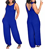 JINTING Women Tie Spaghetti Strap Sleeveless Jumpsuits Wide Leg Long Pant Casual Loose Jumpsuit Romper with Pocket Size M (Blue)