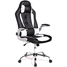 BestMassage Office Desk Gaming Chair High Back Computer Task Swivel Executive Racingchair for BackSupport with Lumbar Support Adjust Armrest, Black&White
