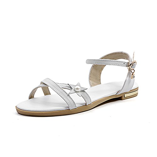 Summer Ankle Strap Open Toe Leather Flat Sole Crystal Pearl Footwear 2018 Girl Shoes,White,10 (Golf Leather Shoe Euro)