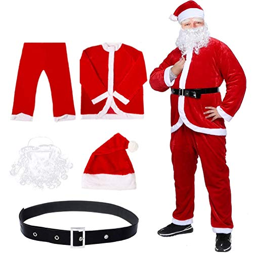 Deluxe Luxury Santa Suit - Mannice Christmas Santa Claus Costume with Beard, Santa Claus Christmas Suit Adult One Size,Red
