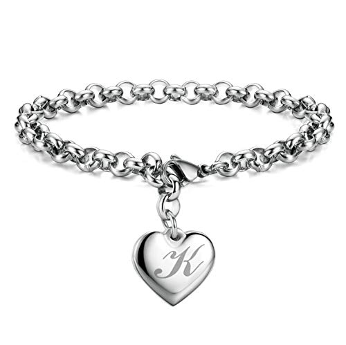 Initial Charm Bracelets Stainless Steel Heart 26 Letters Alphabet Bracelet for Women]()