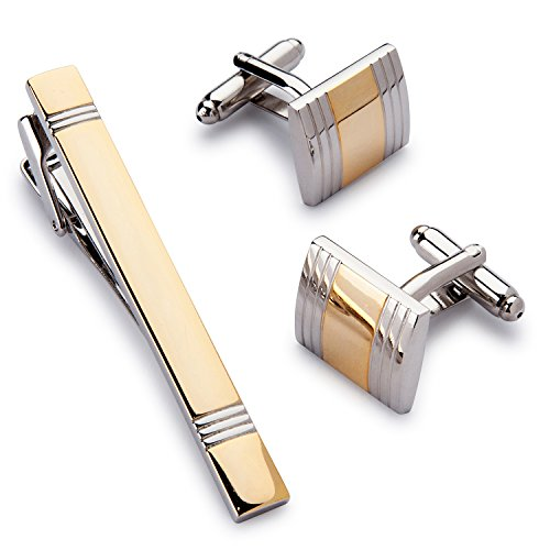 Two Tone Golden Cufflink and Tie-Clip Set in Gift Box-Timeless Design-Classic and Fashionable Gift (Tone Cufflinks Mens)
