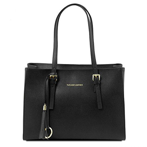 Tuscany Leather TL Bag - Bolso de asa larga en piel Saffiano - TL141518 (Negro) Negro