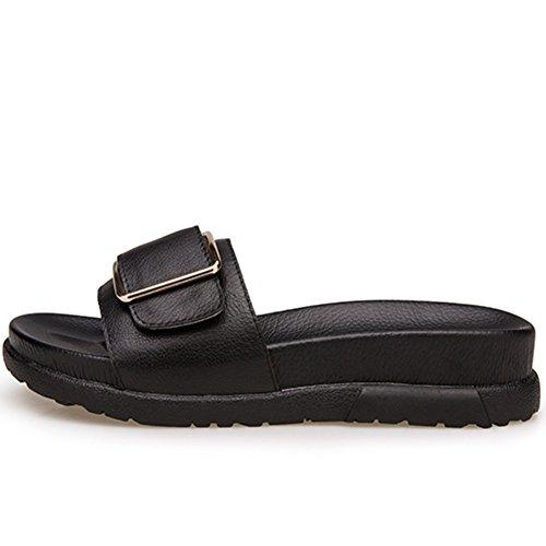 La moda de verano lleva un grueso fondo de la palabra sandalias/Zapatillas de cuero genuino hebilla lateral A