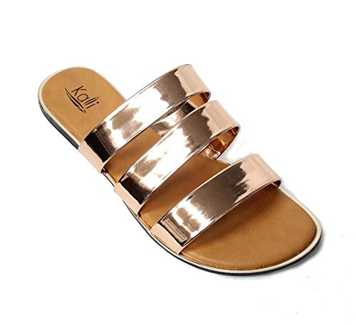 Kali Footwear Women's Triple Strap Gladiator Slide Sandal Rose Gold, 9 (Triple Flat)