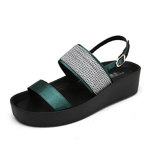 Sandals ZCJB Summer Casual Female Roman Sponge Cake Female Wild Thick Bottom Student Beach Shoes Dark Green zF60cTPR