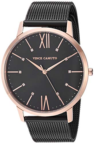 Vince Camuto Women's VC/5333RGBK Swarovski Crystal Accented Rose Gold-Tone and Black Mesh Bracelet Watch