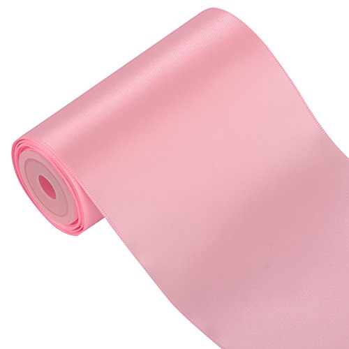LaRibbons 4 inch Wide Solid Color Double Face Satin Ribbon Great for Chair Sash- 5 Yard/Spool (Pink)