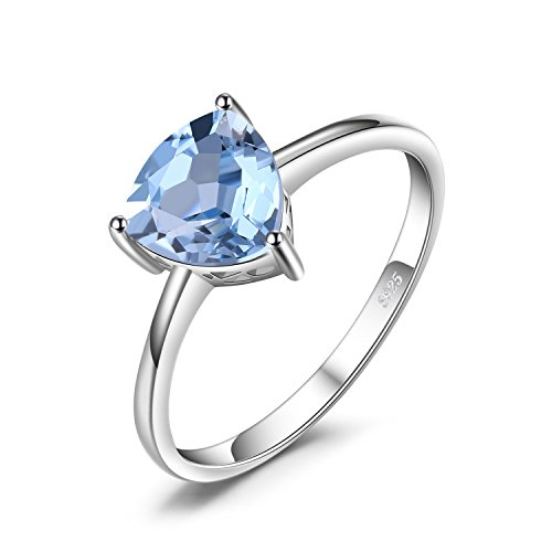 (JewelryPalace 1.5ct Natural Gemstones Birthstone Blue Topaz Solitaire Engagement Ring For Women For Girls 925 Sterling Silver Triangle Cut Size 7)