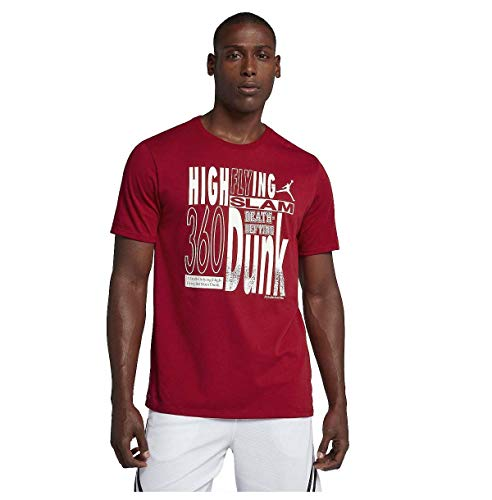 Nike Jordan Men's High Flying Basketball Tee-Gym Red-Large