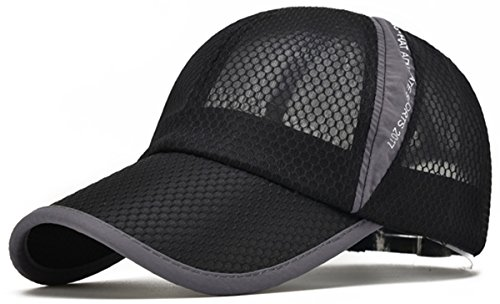 (ELLEWIN Unisex Black Hiking Cap Breathable Quick Dry Mesh Baseball Cap Sun Hat)