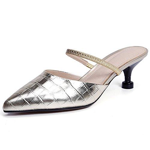 Nine Seven Cuero Moda Puntiagudos Zapatos de Tacón de Aguja con de Vestir para Mujer dorado