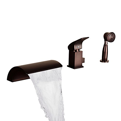 JinYuZe New Oil Rubbed Bronze Roman Tub Filler Faucet 3-hole Waterfall Bathtub Faucet with Handheld Shower Head (Style A) -