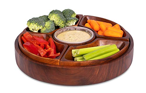 BirdRock Home Chip and Dip Severing Bowl Set | 6 Section Detachable Acacia Wood Platter and Tray | Great for Veggies, Cheese Dip, Salsa and Hummus | Parities and events - Chip Acacia Wood