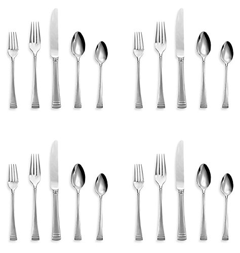 l Platinum Frosted Flatware 5 Piece Place Setting Service for 4 (Four 5 Piece Place Settings)