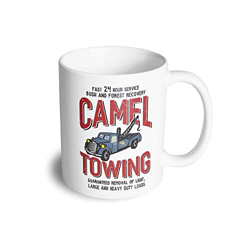 Novelty Mechanic Tea Cup Mug Camel Towing Car Recovery White 11OZ