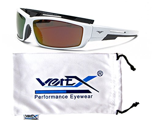 VertX Men's Polarized Sunglasses Sport Cycling Outdoor w/ Free Microfiber Pouch – White and Black Frame – Orange - Oakley Sunglasses Fake