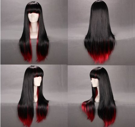 Long Straight Black CosPlay Anime Wig