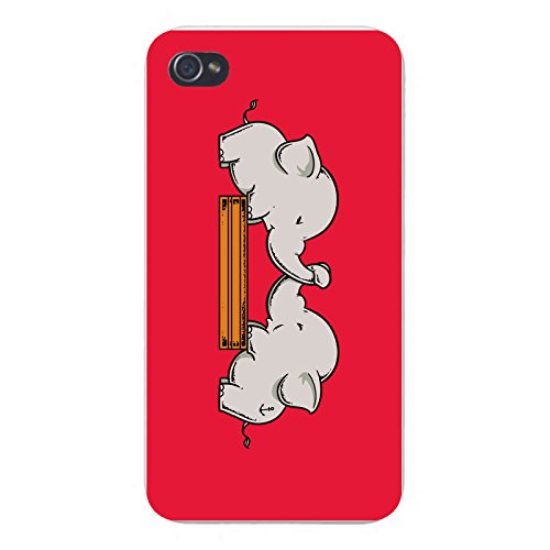 """Apple iPhone Custom Case 5 / 5S White Plastic Snap On - """"Trunk Wrestling"""" Funny Cute Elephants Playing"""