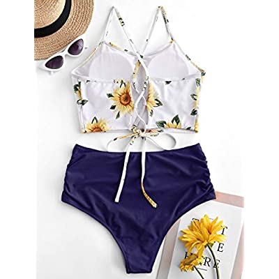 ZAFUL Women's Leaf Print Lace Up Ruched High Waisted Tankini Set Swimsuit: Clothing