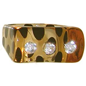 Lucite Stackable Ring with 3 Crystal Rhinestones, Size 7, in Crystal with Leopard Finish