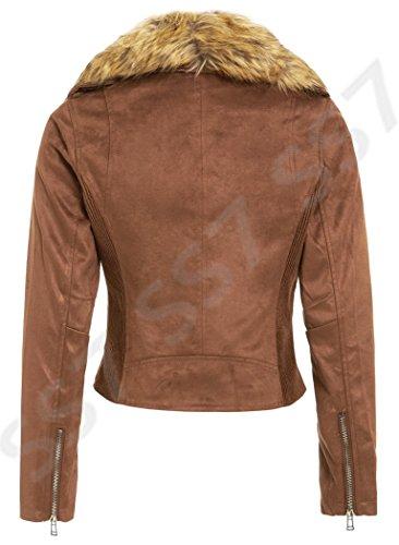 Daim 8 16 pour Faux SS7 Tailles fourrure Veste Femmes Marron 8 noir UK motard daim x1Bw1PZq