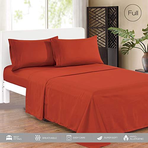 KING HOME Smooth 1800 Soft Bed Sheet Set, Soft Microfiber, Wrinkle Resistant, Hypoallergenic, Hypoallergenic, Full, Orange Rust