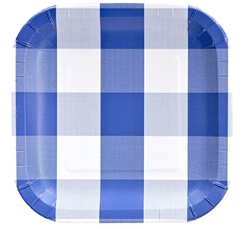 Havercamp Blue and White Plaid Paper Party Plates | 8 Count | 9