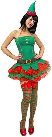 Sexy duende de la Navidad para mujer Disfraz de elfo verde rojo ...