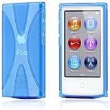 MY WAY iPod nano 7 デザイン カバー ケース TPU Jelly X Design Case (軽量モデル) アイポッドナノ 2012年 第7世代 iPod nano 7th 対応 + 液晶保護フィルム1枚 【Clear X Blue(青)】