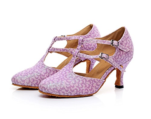 Salsa Pour Dance UK7 Femmes JSHOE 5cm Satin Tango Chaussures Our42 EU41 Indoor Ballroom heeled7 Pink Latin Floral nwEEq6YX
