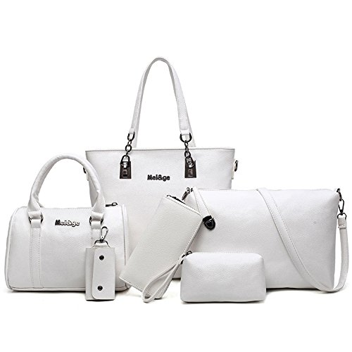 H&X Women Totes 6 Pcs Shoulder Bags Top-Handle Handbag Purse Set (snow white) (Snow White Handbag)