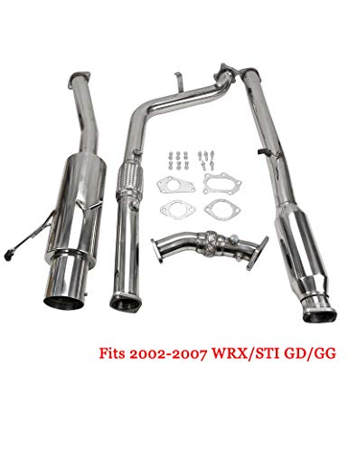 4INCH ROLLED TIP STAINLESS EXHAUST TURBO CATBACK + PIPE FOR 02-07 SUBARU WRX/STi GD/GG