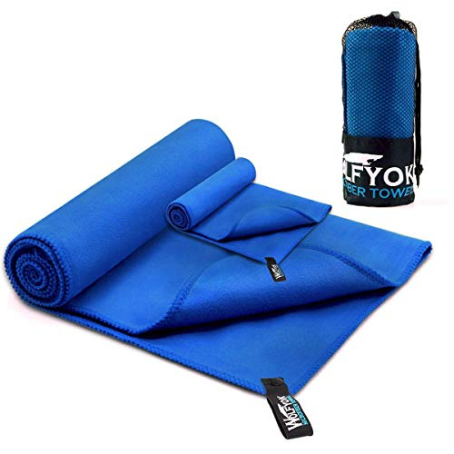 """Wolfyok 2 Pack Microfiber Travel Sports Towel XL Ultra Absorbent and Quick Drying Swimming Towel (58"""" X 30"""") with Hand/Face Towel (14"""" X13.7"""") for Sports, Backpacking, Beach, Yoga or Bath, Blue"""