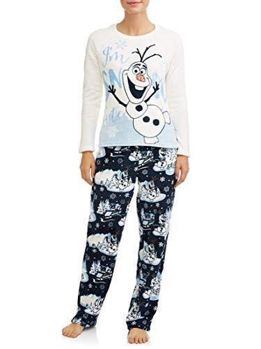 Disney Women's Frozen Olaf The Snowman 2-Piece Minky Fleece Pajama Set (Medium 8-10, Winter White Olaf)