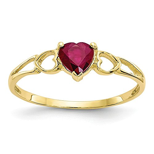 (Mia Diamonds 10k Yellow Gold Polished Genuine Heart Shape Ruby Birth Month Ring)
