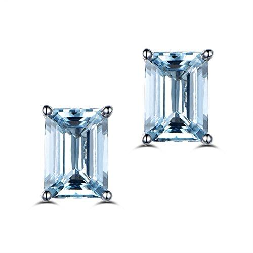 Erllo Gemstone 925 Sterling Silver 5x7mm Emerald Cut Earring Studs Blue Topaz 2 Carat Stud Earring ()