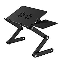 Adjustable Laptop Stand on Bed & Sofa, Portable Laptop Table Stand with 2 CPU Cooling Fans, Removable Mouse Board, Ergonomic Lap Desk TV Bed Tray Standing Desk (1 Pack, Metal Black)