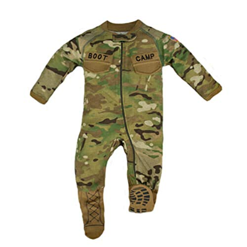 Army Baby Clothes - TC Multicam Baby Boys Camo Crawler with Boot Camp Boots (6-9 Months)
