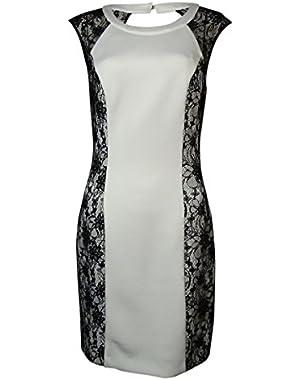 Guess Women's Brielle Lace Sides Neoprene Sheath Dress