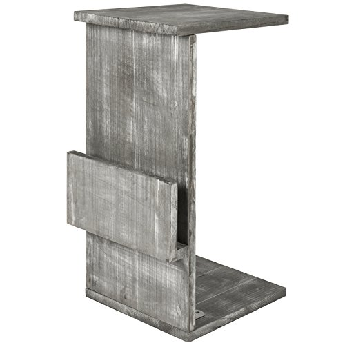 Gray Whitewashed Wood Sofa Side Table with Magazine Holder Rack, Under-the-Couch Sliding Tray by MyGift (Image #4)